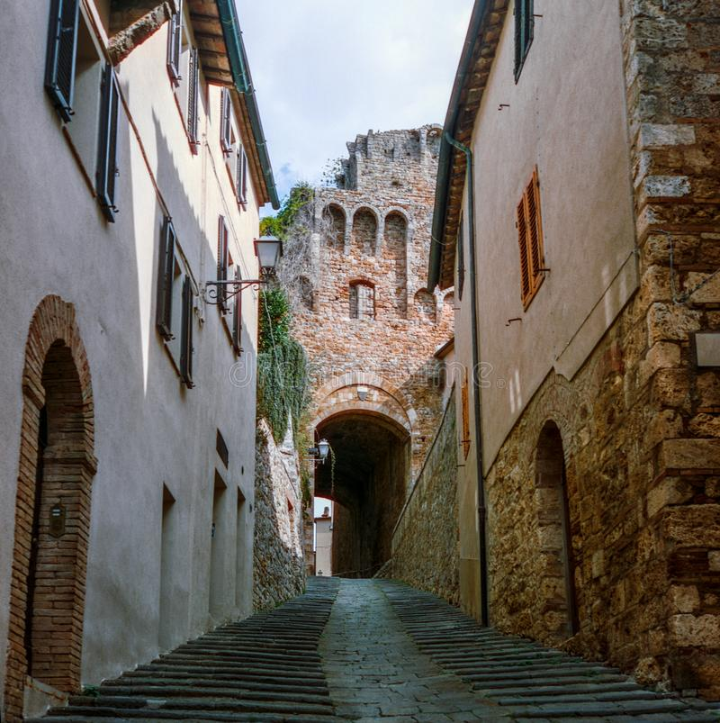 The old narrow streets in the medieval town of Massa Marittima in Tuscany shot with analogue film technique - 9. The old narrow streets in the medieval town of stock photography