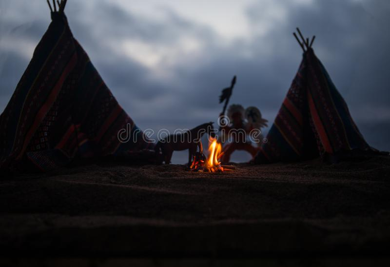 An old native american teepee in the desert stock image