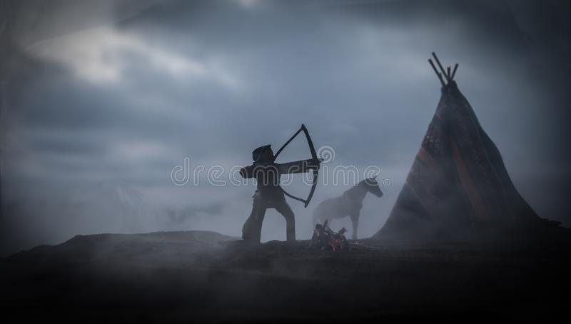 An old native american teepee in the desert royalty free stock photography