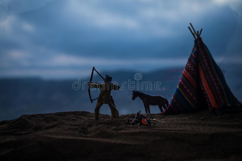 An old native american teepee in the desert stock photo