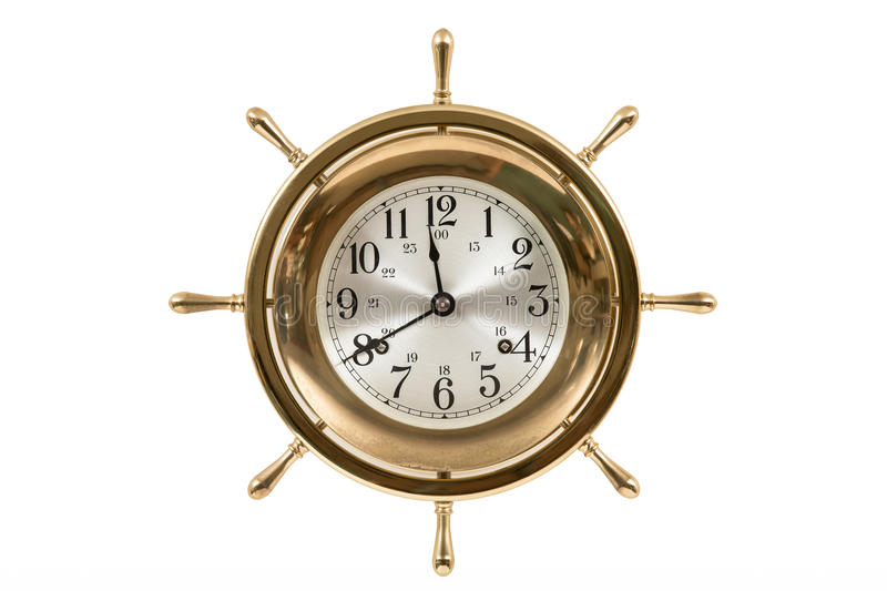 Old Nautical Clock Isolated on White. Old vintage ship's clock. Studio shot. Isolated on white. Hands set to 11:40, the time the Titanic hit the iceberg royalty free stock photography