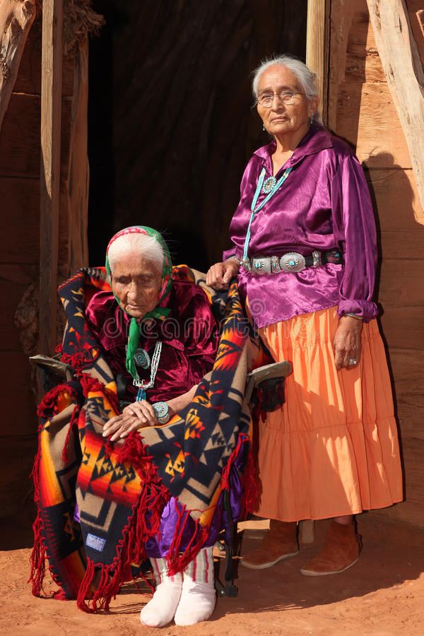 Old Navajo Woman and Her Daughter royalty free stock photos