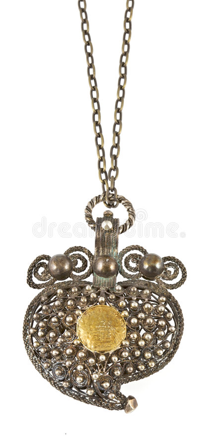 Old necklace on white background stock images