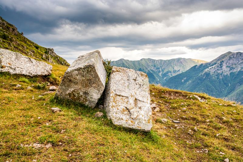 Old necropolis with stecci in Bosnian mountains in Lukomir village.  royalty free stock images