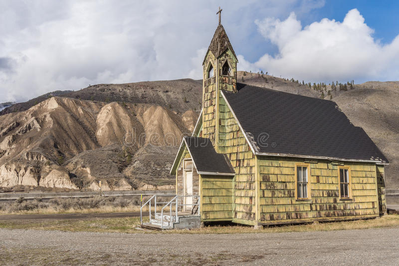 Old Neglected Country Church near Spences Bridge. Old old neglected coutry church outside the small town of Spences Bridge in the interior of British Columbia royalty free stock photo