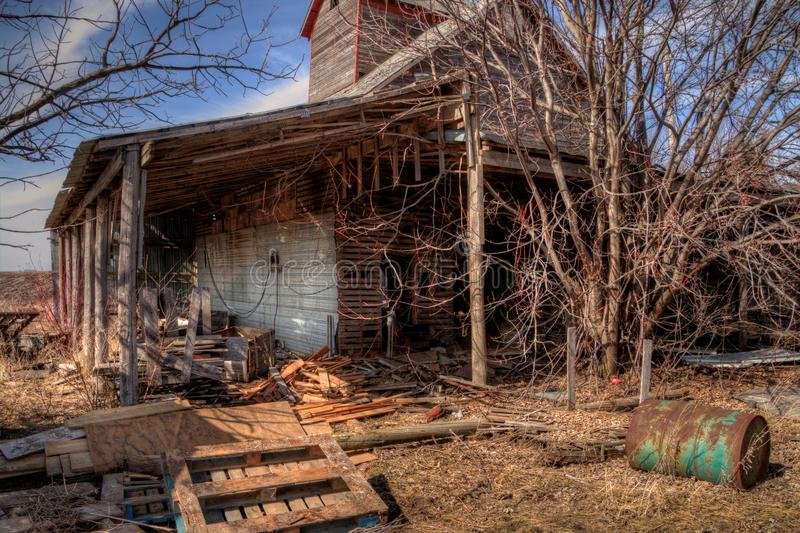 An old neglected Farm and Equipment from the Mid-20th Century in royalty free stock images