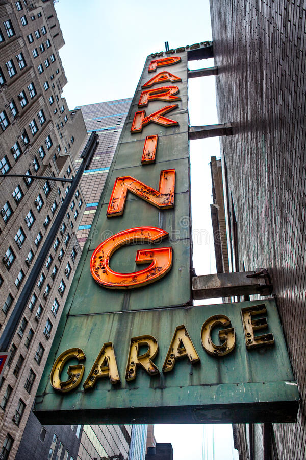 Old neon Parking Garage sign royalty free stock photo
