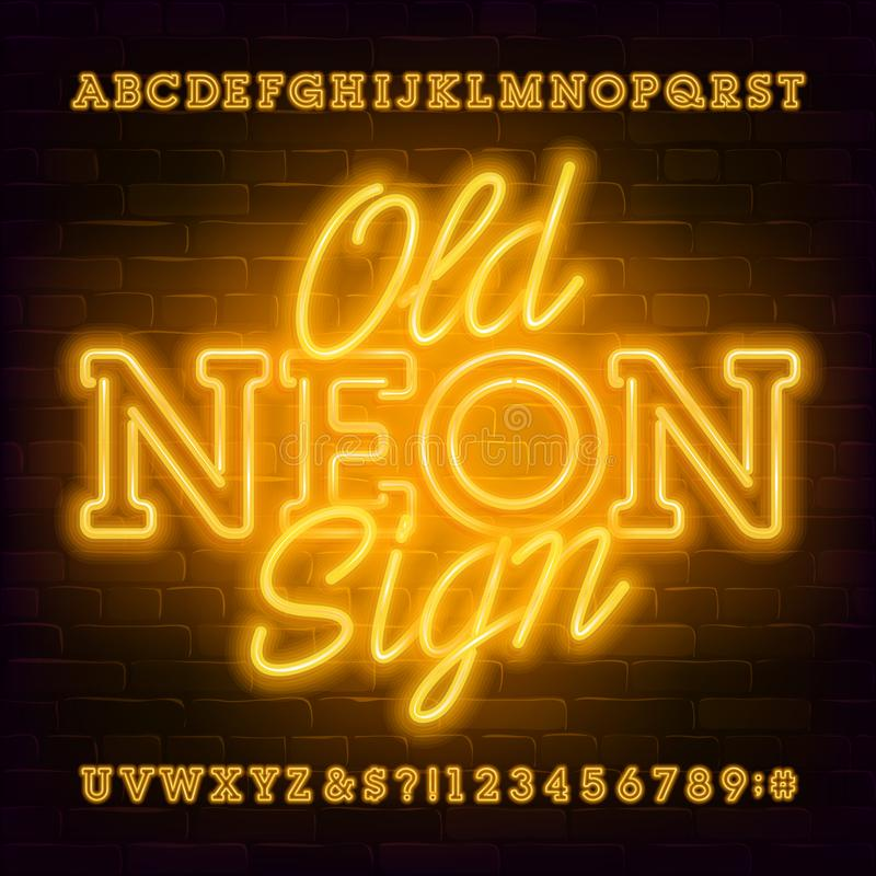 Old Neon Sign alphabet font. Light bulb retro letters and numbers. Stock vector typeface for your typography design stock illustration