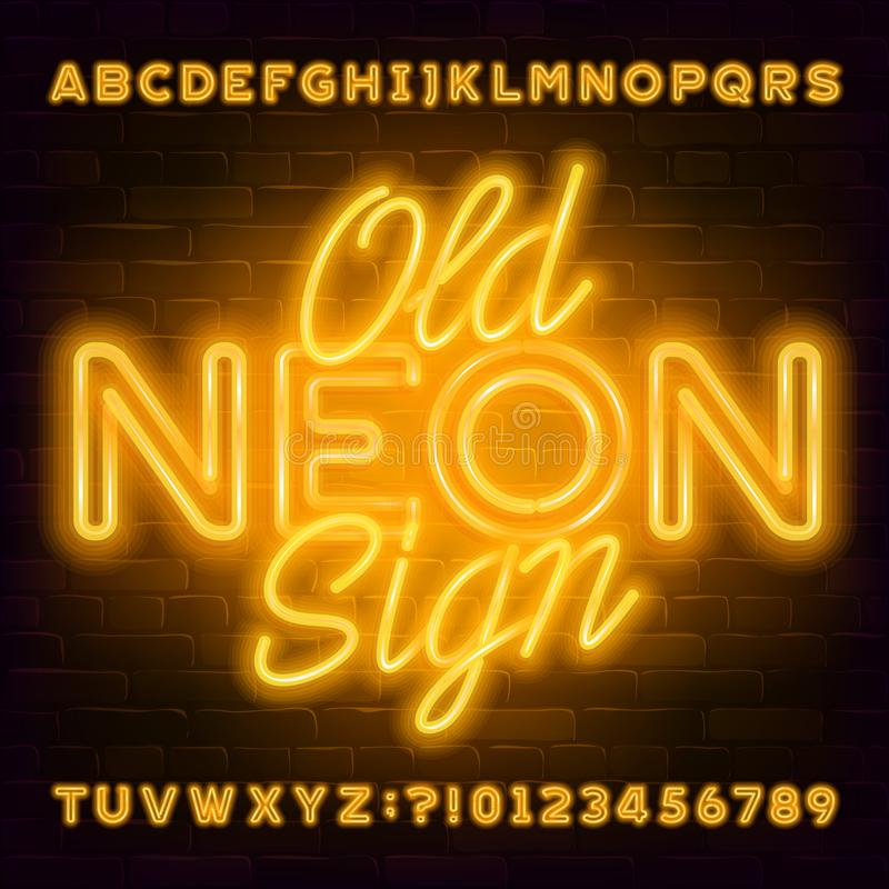 Old Neon Sign alphabet font. Yellow neon light letters and numbers on brick wall background. stock images