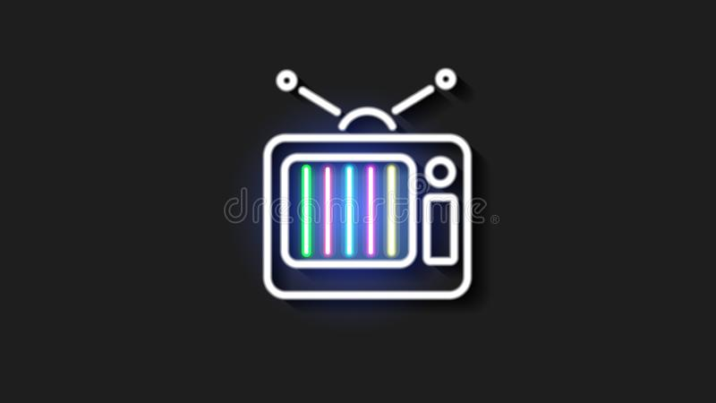 Old neon TV with antenna on brick wall. Lights up at night stock illustration