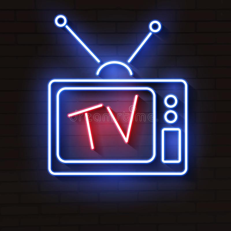 Old neon TV with antenna on brick wall. Lights up at night vector illustration