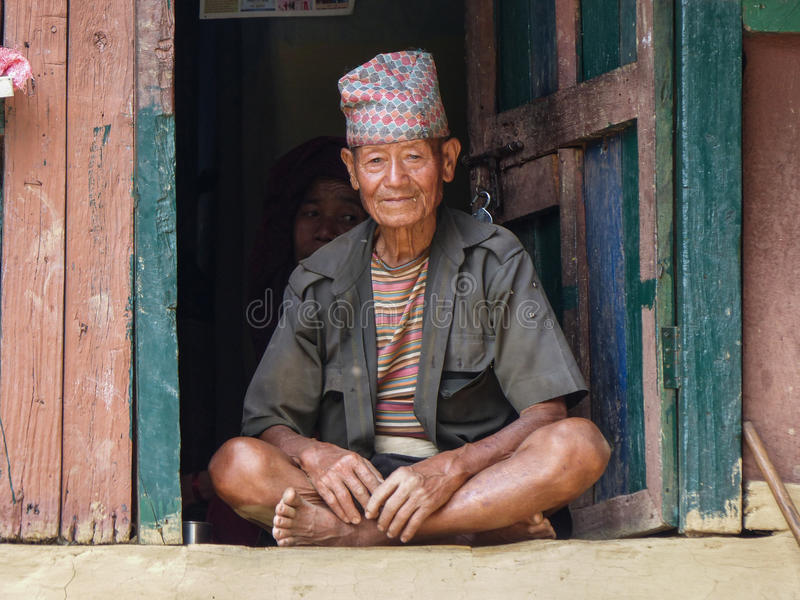Old nepalese man royalty free stock image