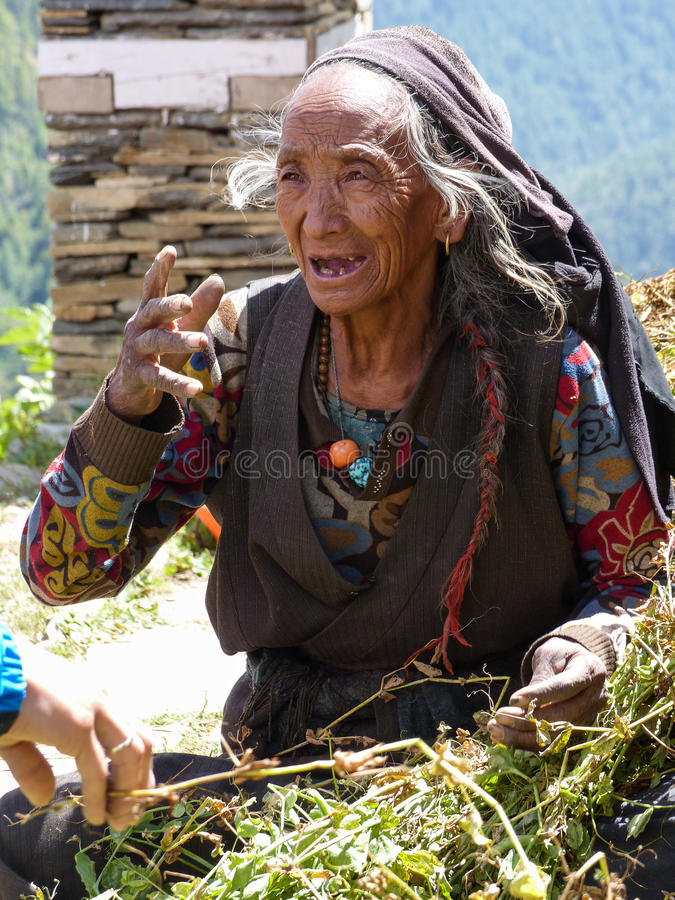 Old Nepalese Woman stock image