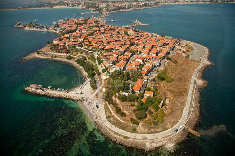 Old Nessebar, aerial view royalty free stock photo
