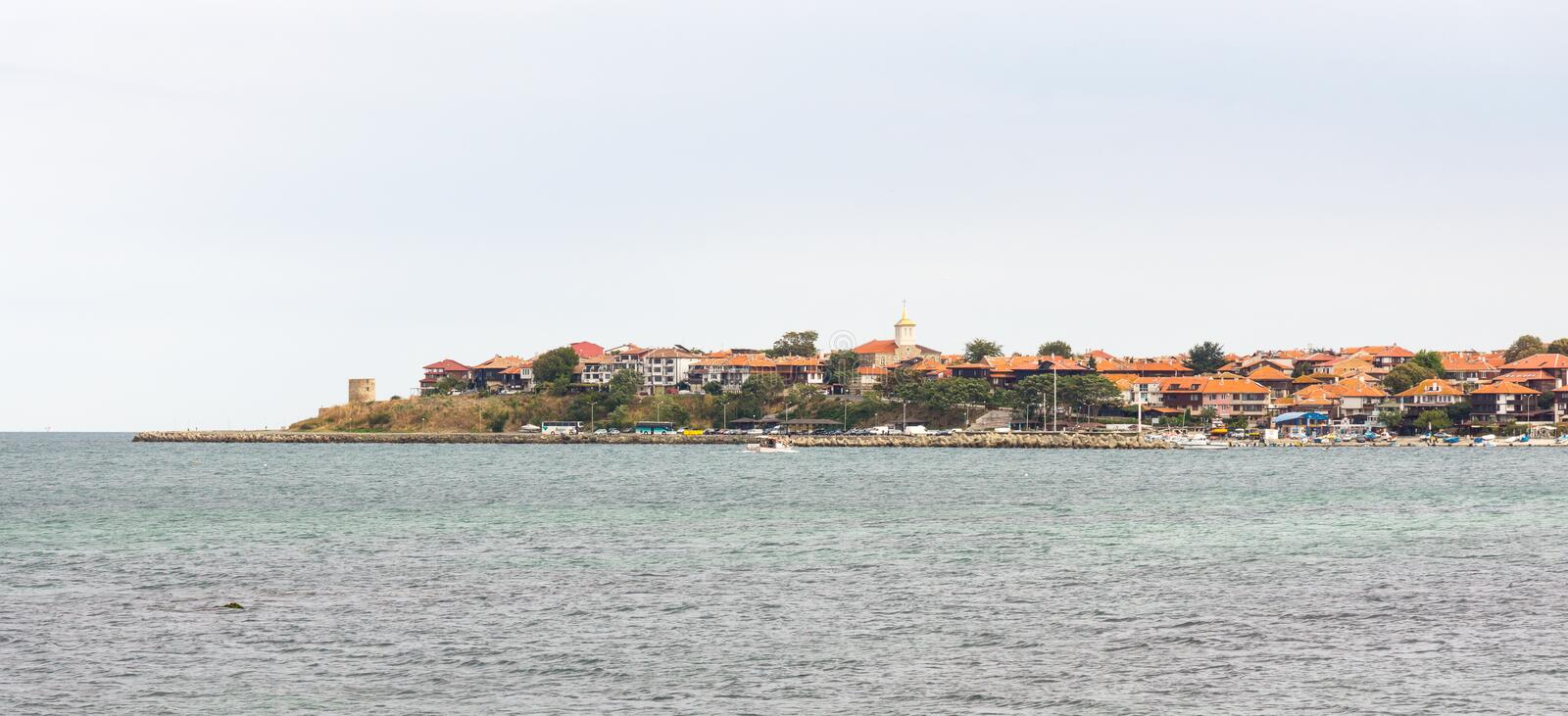 Old Nessebar from the sea, Bulgaria royalty free stock photo