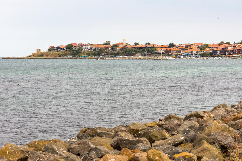 Old Nessebar from the sea, Bulgaria stock image