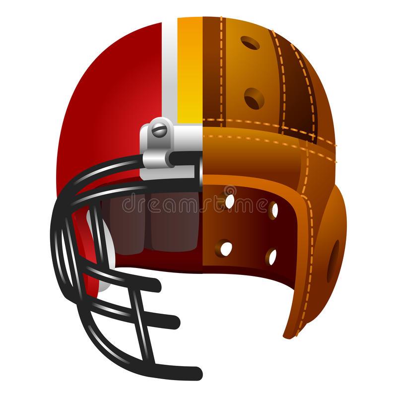 Old and new american football helmet. Isolated on white stock illustration