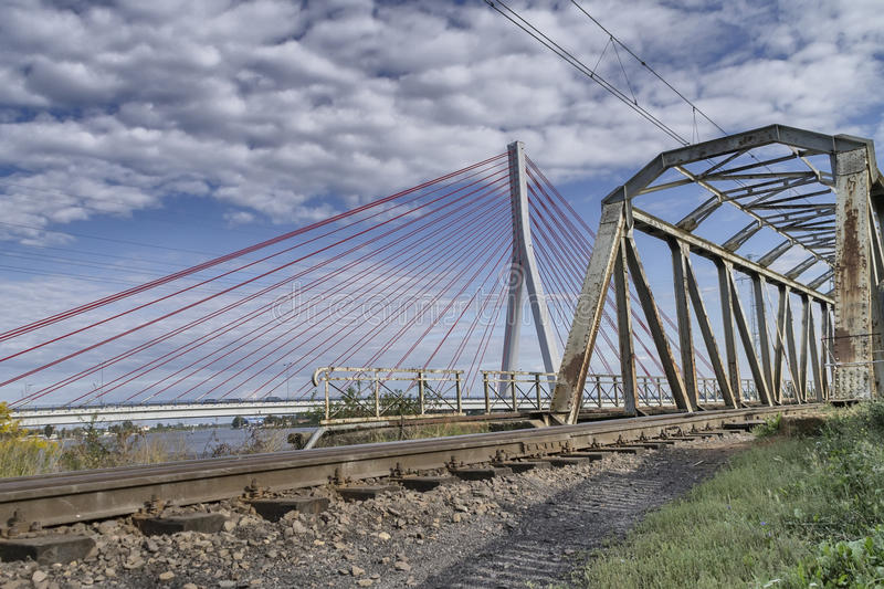 Download Old and new bridge stock photo. Image of skyline, construction - 36992886