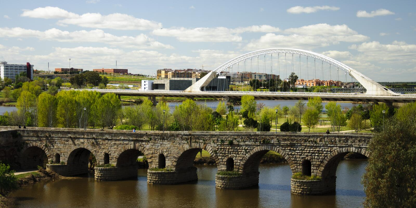 Old and new bridges stock photo