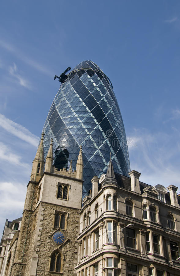 Old and new buildings in City of London. Old and new architecture styles in City of London financial area stock photography