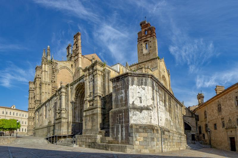 Old and new Cathedral of Plasencia, Spain. Plasencia, Caceres, Spain; April 2015: old and new Cathedral, a representation of Gothic and Roman styles, in the royalty free stock photos