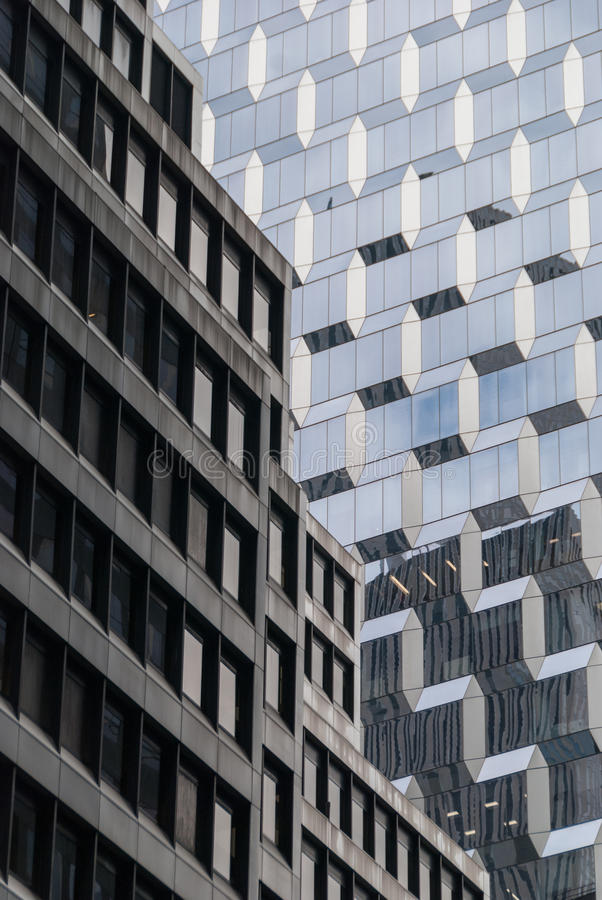 Old and new facade in NYC stock images