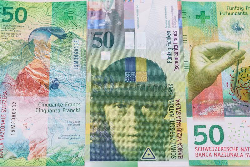 Old and New Fifty Swiss Franc bills stock image