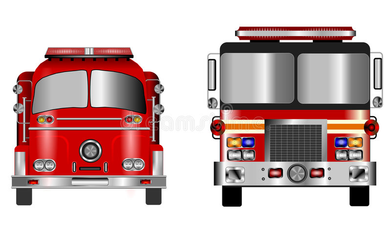 Old and new fire engine vector illustration