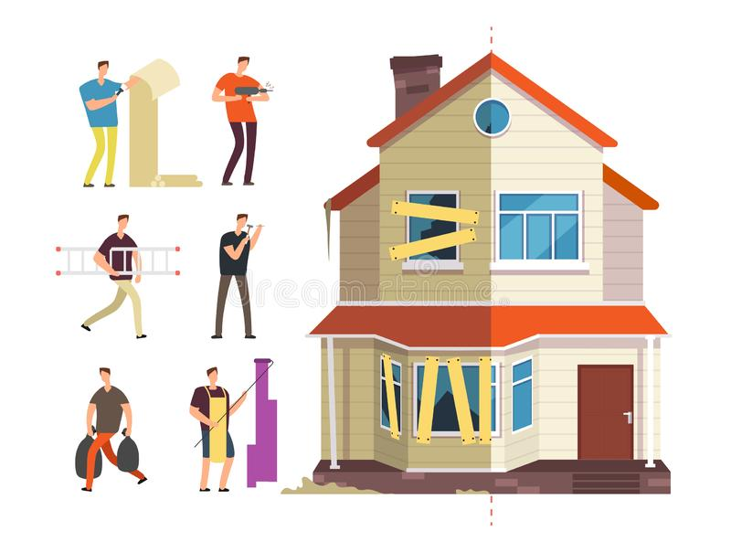 Old and new home. Renovation of house with repairer people. Building maintenance service isolated vector concept stock illustration