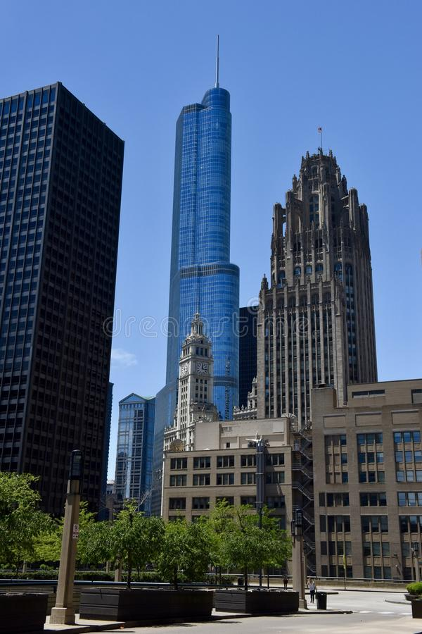 Old and New Icons. This is a Sprig picture featuring four iconic building along the Chicago River located in Chicago, Illinois. The building featured from right royalty free stock photography
