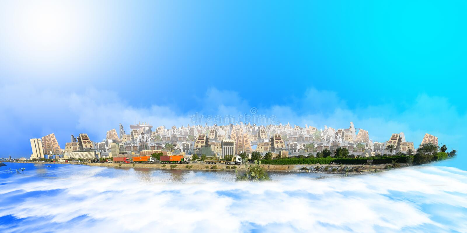 Old and new jeddah over sea of clouds at daylight and blue sky. From imagination stock illustration