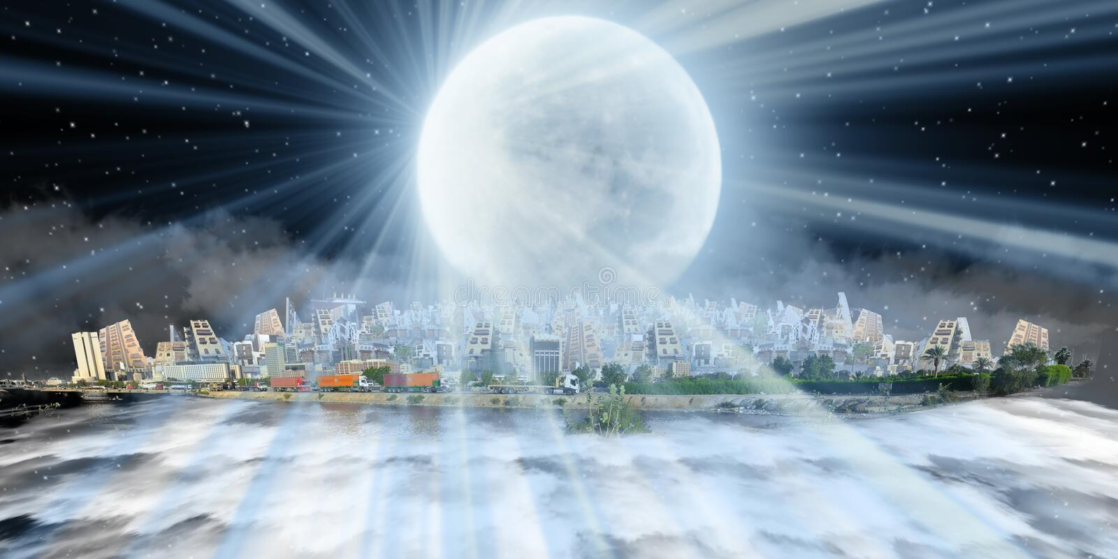 Old and new jeddah over sea of clouds at night with moon beam royalty free illustration