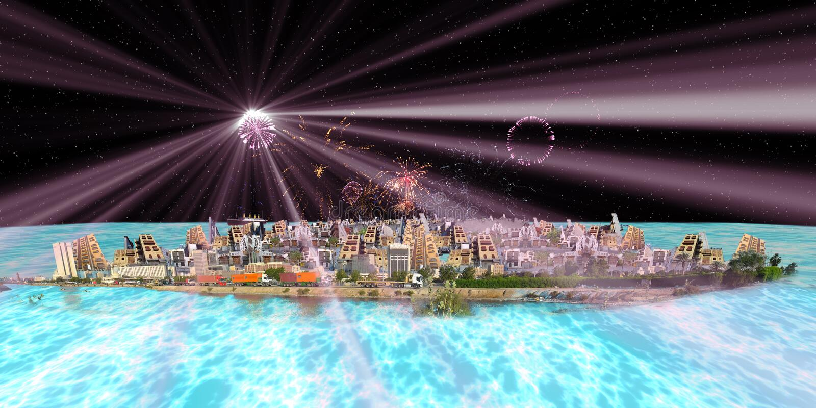 Old and new jeddah over sea at night with fireworks vector illustration