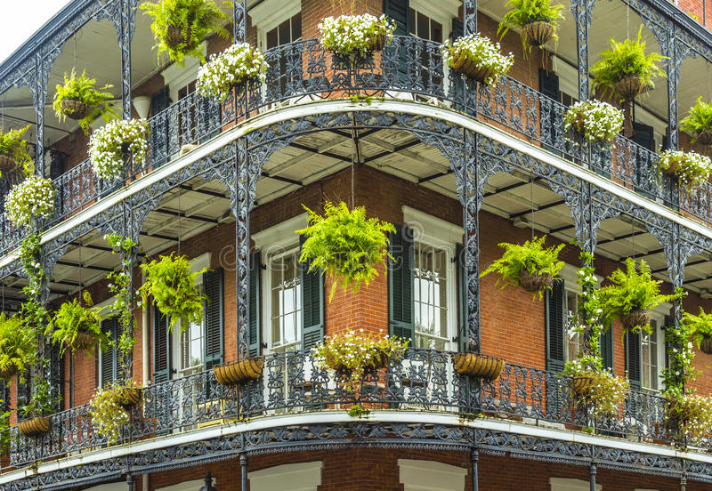 Old New Orleans houses in french Quarter royalty free stock photo