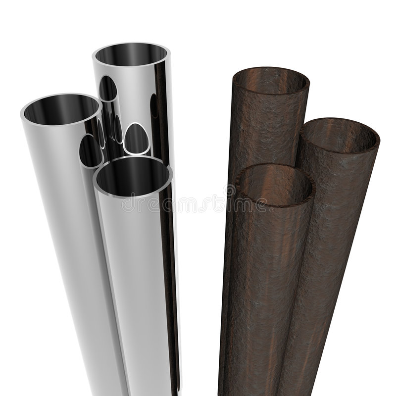 Old and new pipes. Packs of new chrome and old rusty pipes stock illustration