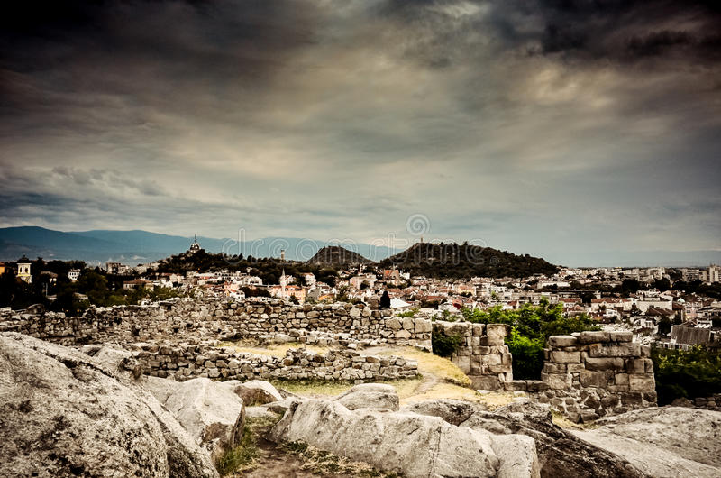 Old and new Plovdiv Bulgaria royalty free stock photography