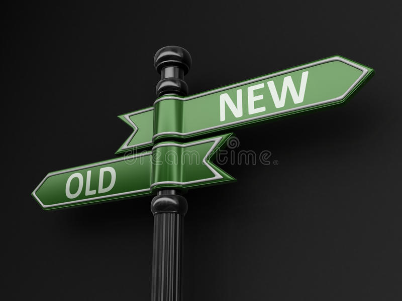 Old and New pointers on signpost. Image with clipping path vector illustration
