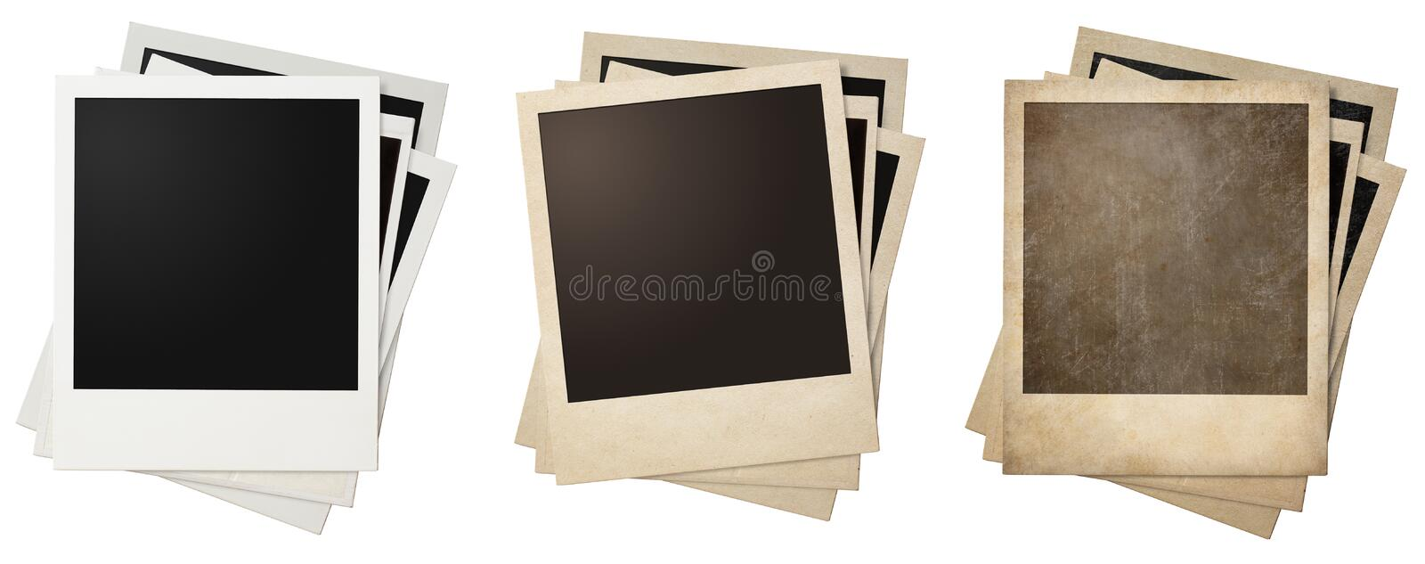 Old and new polaroid photo frames stacks isolated royalty free stock photography