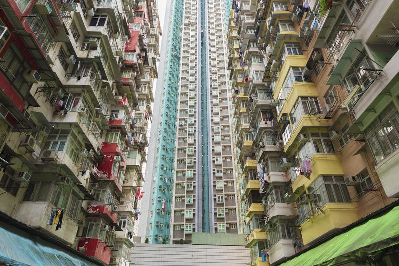 Old and new residential building in Hong Kong city stock photography