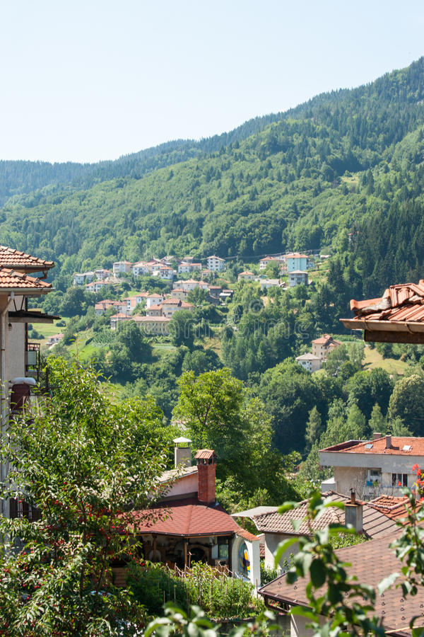 Old and new Smolyan in Bulgaria stock images