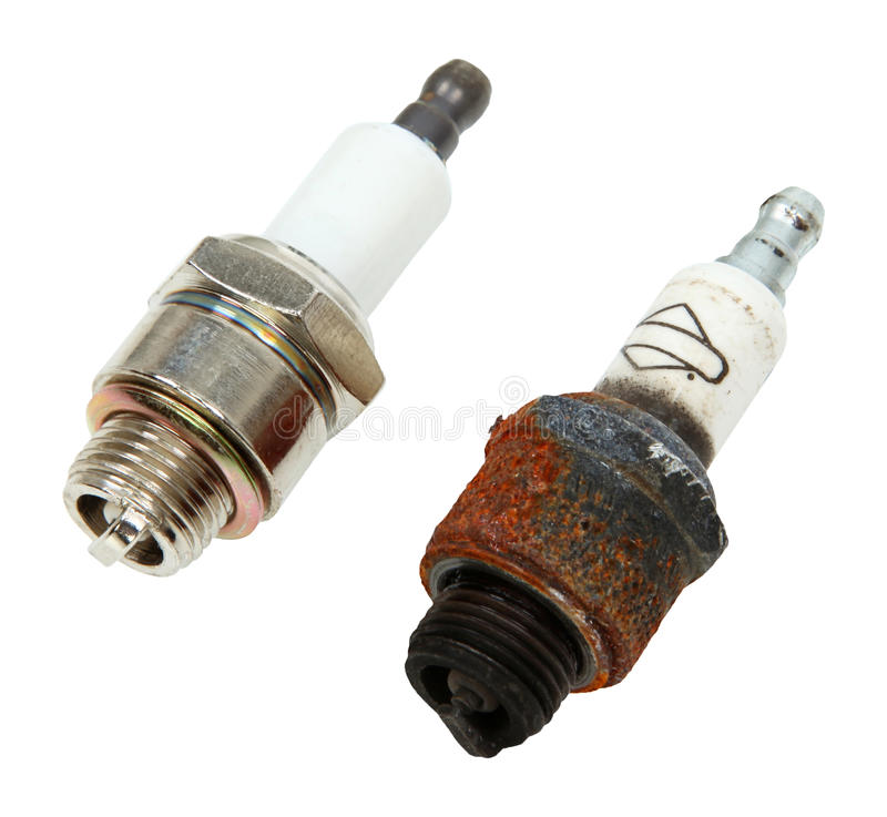 Old And New Spark Plugs royalty free stock image