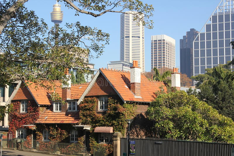 Old and modern Sydney city buildings. Historic old homes combined with modern new city buildings in Sydney, Australia royalty free stock photos
