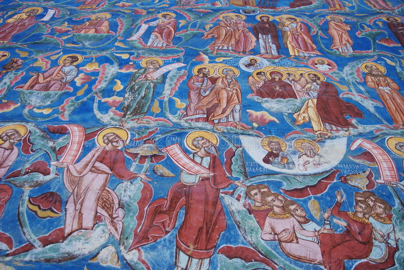 Old and New Testament figures. Fresco of Jesse's tree, Old and New Testament figures, Moldovita monastery, Bucovina, Romania stock images