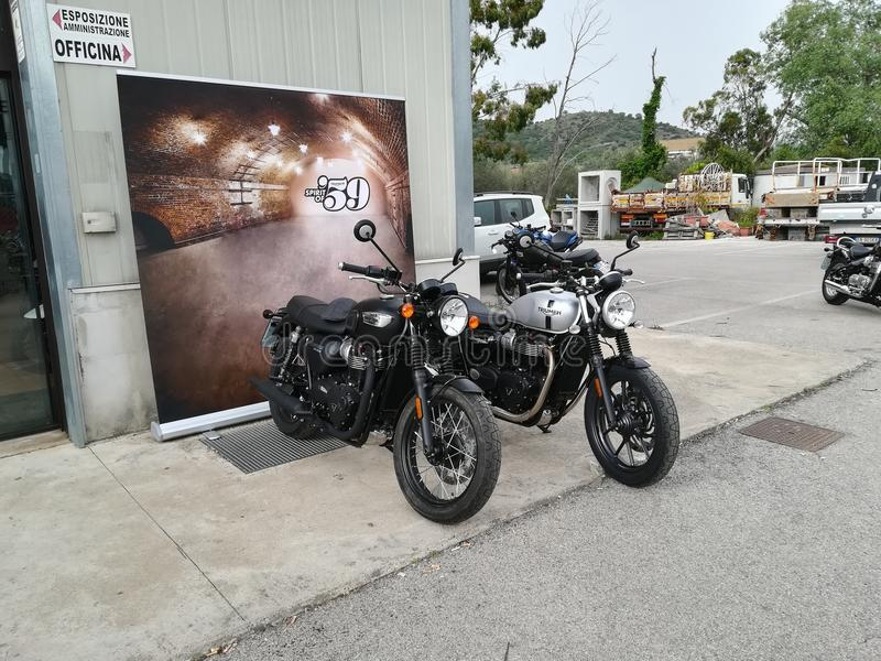 Triumph street twin and T100 royalty free stock image