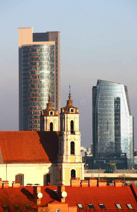 Old and new Vilnius royalty free stock photos