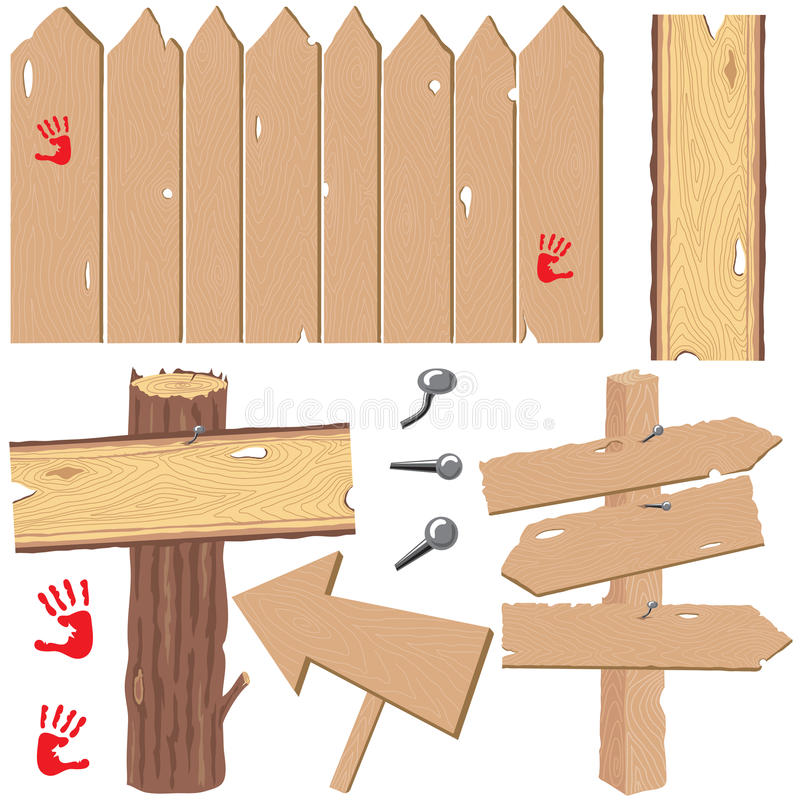 Download Old and New wood signs stock vector. Image of clip, wooden - 9480173