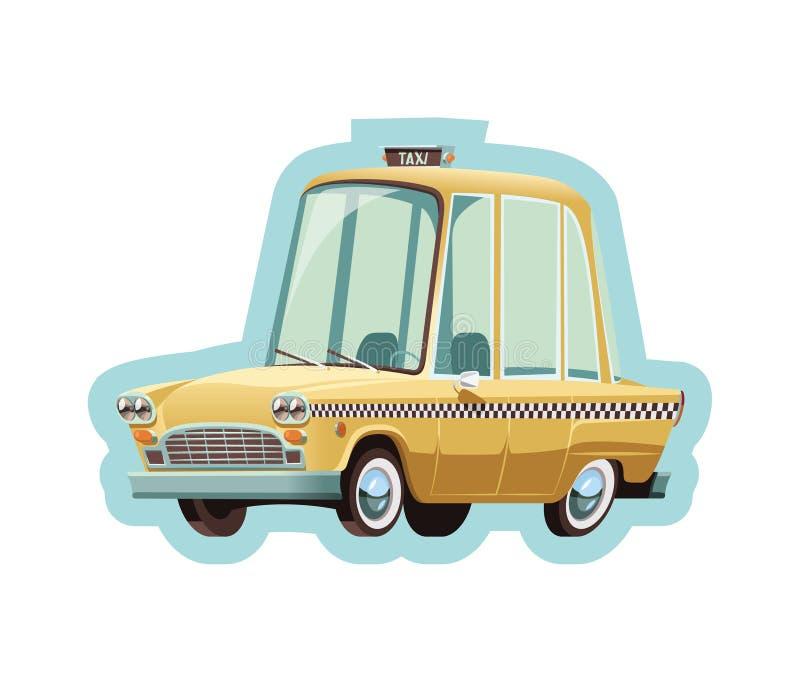 Old New York yellow taxi cab. Illustration royalty free illustration