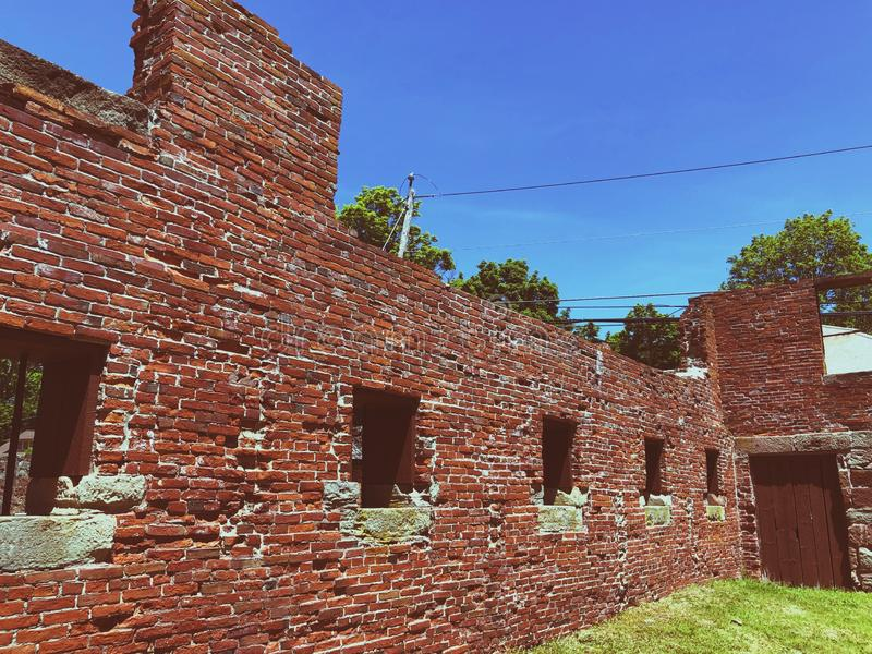 Old Newgate Prison buildings exterior. Old Newgate Prison is a former prison and mine site on Newgate Road in East Granby, Connecticut,United States.The broken royalty free stock image