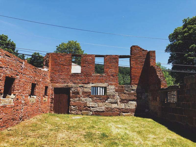 Old Newgate Prison buildings exterior. Old Newgate Prison is a former prison and mine site on Newgate Road in East Granby, Connecticut,United States.The broken royalty free stock photos