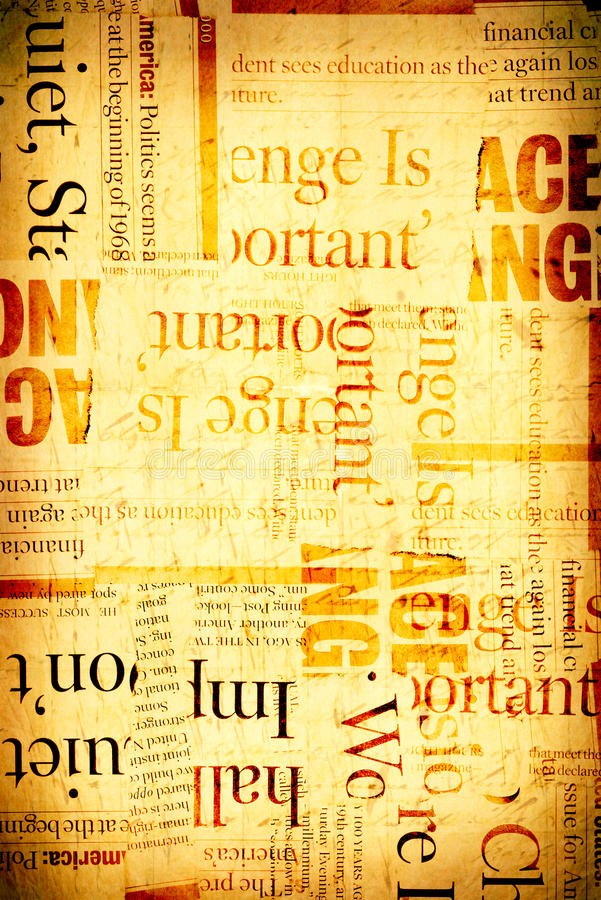 Old news paper. News paper text with old paper stock illustration
